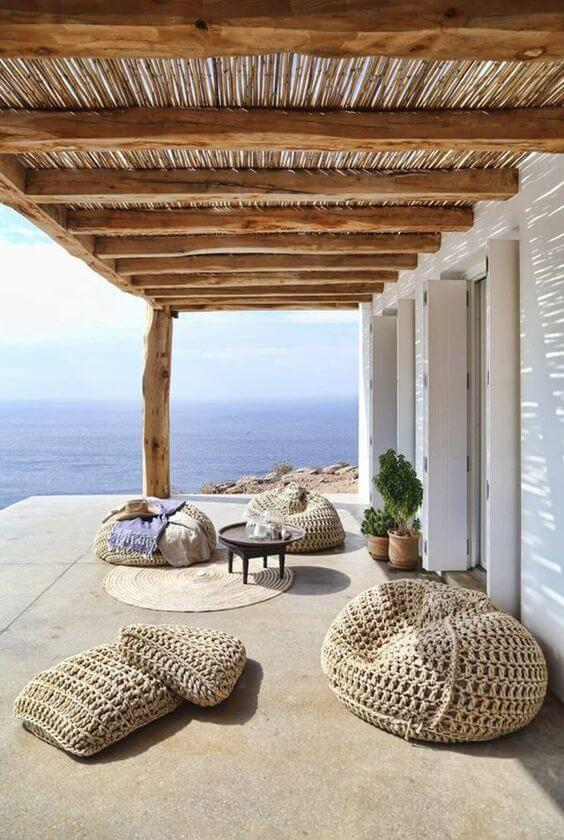 Poufs are great because you can take them anywhere - even on the porch or balcony!