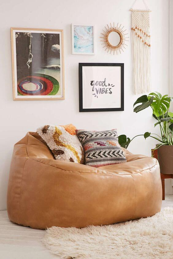 Poufs can provide a comfortable seat for relaxation.