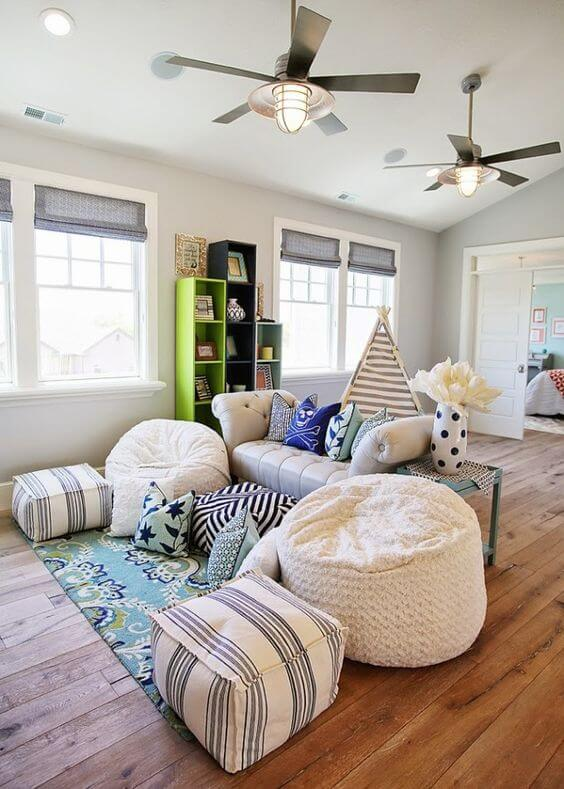 Use poufs at your next family game night or movie marathon for comfortable seating.