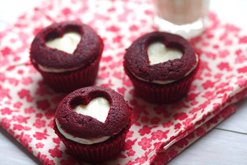 Red velvet cupcakes are perfect for Valentine's Day!
