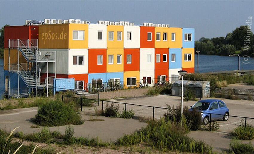 Multicolored, multilayered shipping home container complexes