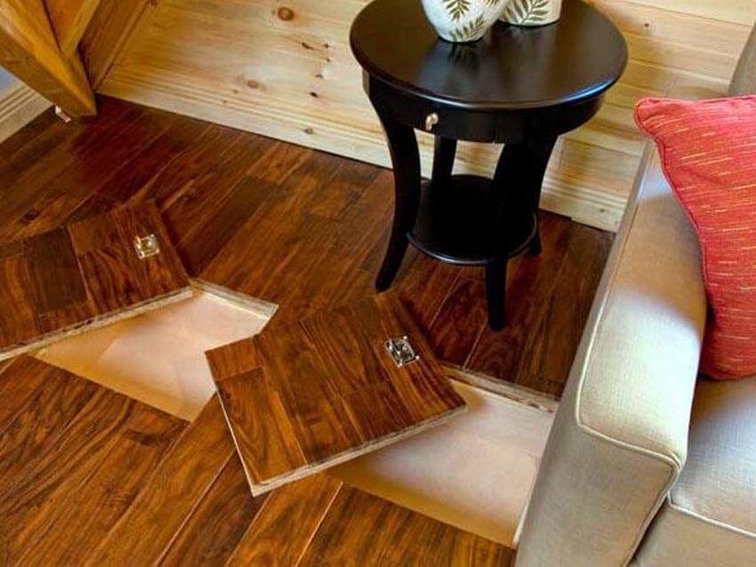 Removable hardwood floor safe areas