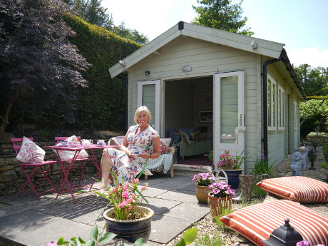 A she shed with a patio? Now we're talking!