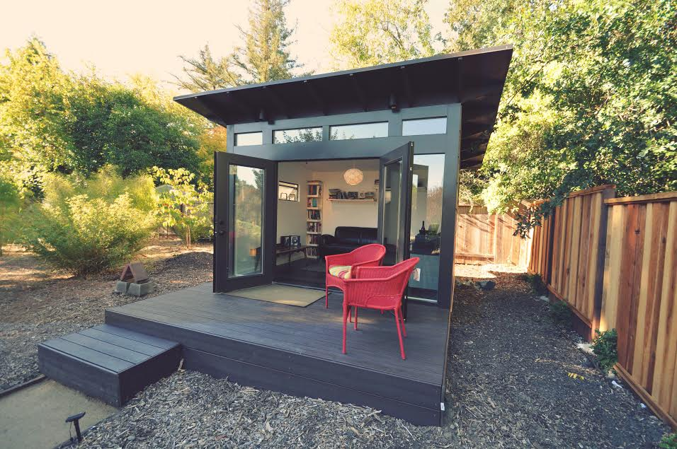 Show off your contemporary style with this sleek she shed.