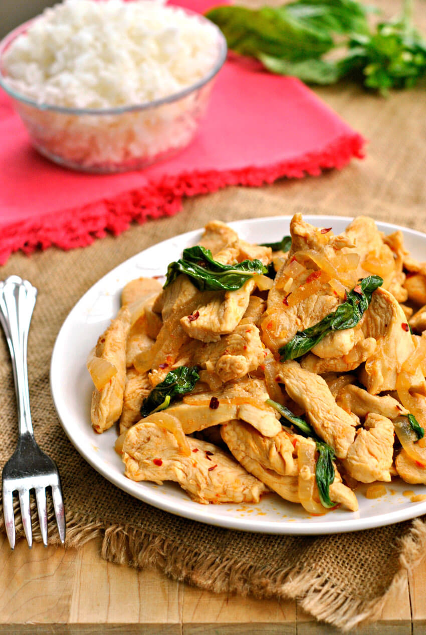 This quick and easy Thai Basil Chicken is a delicious and guilt-free dinner choice!