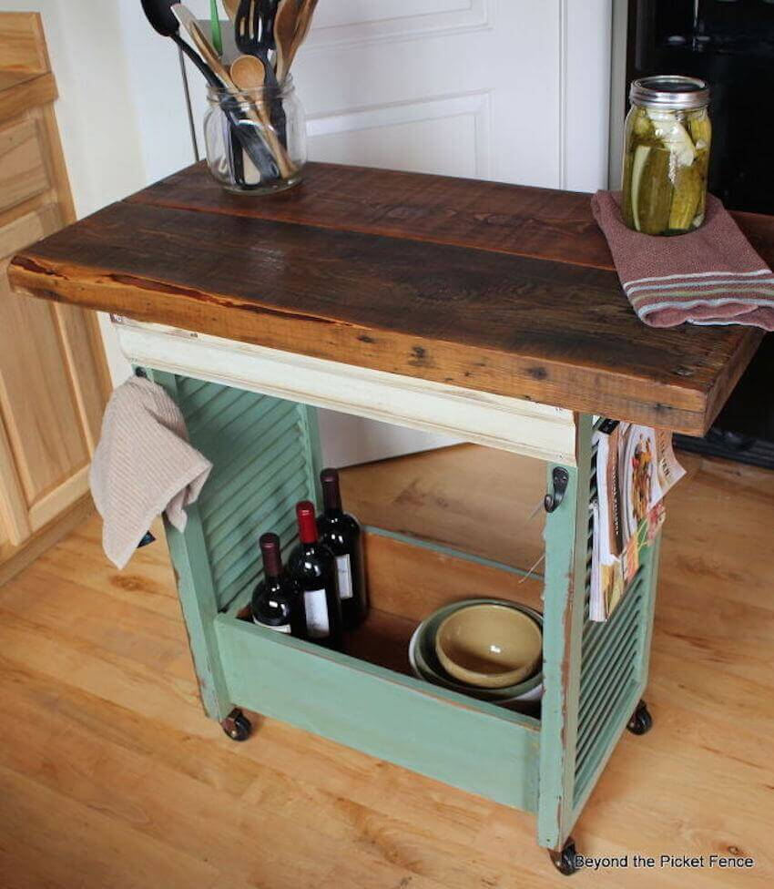 Custom designed and painted kitchen trolley