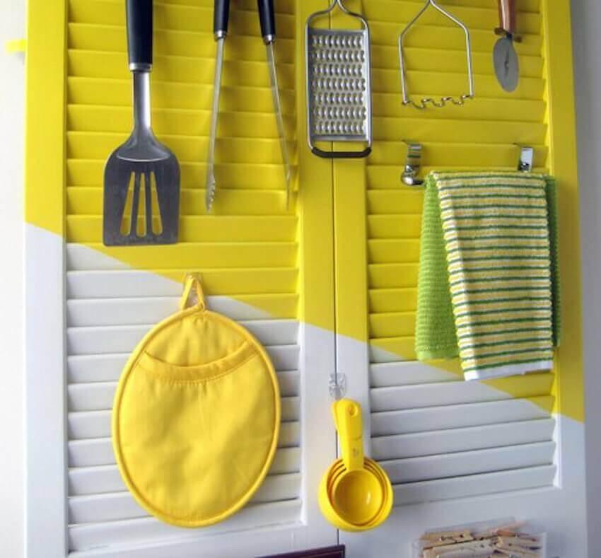 Bright yellow DIY kitchen organization for a home interior
