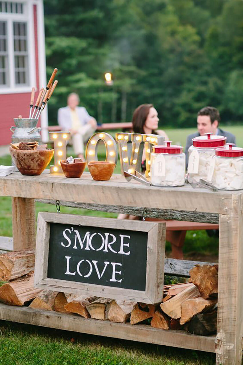 Any smaller table or cart is perfect for a S'mores bar.