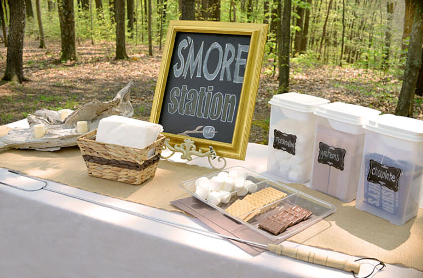 A s'mores station can be arranged at any place or event.