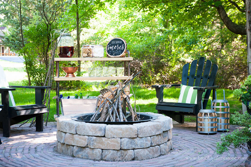 Arrange the chairs around the firepit for a cozy evening.