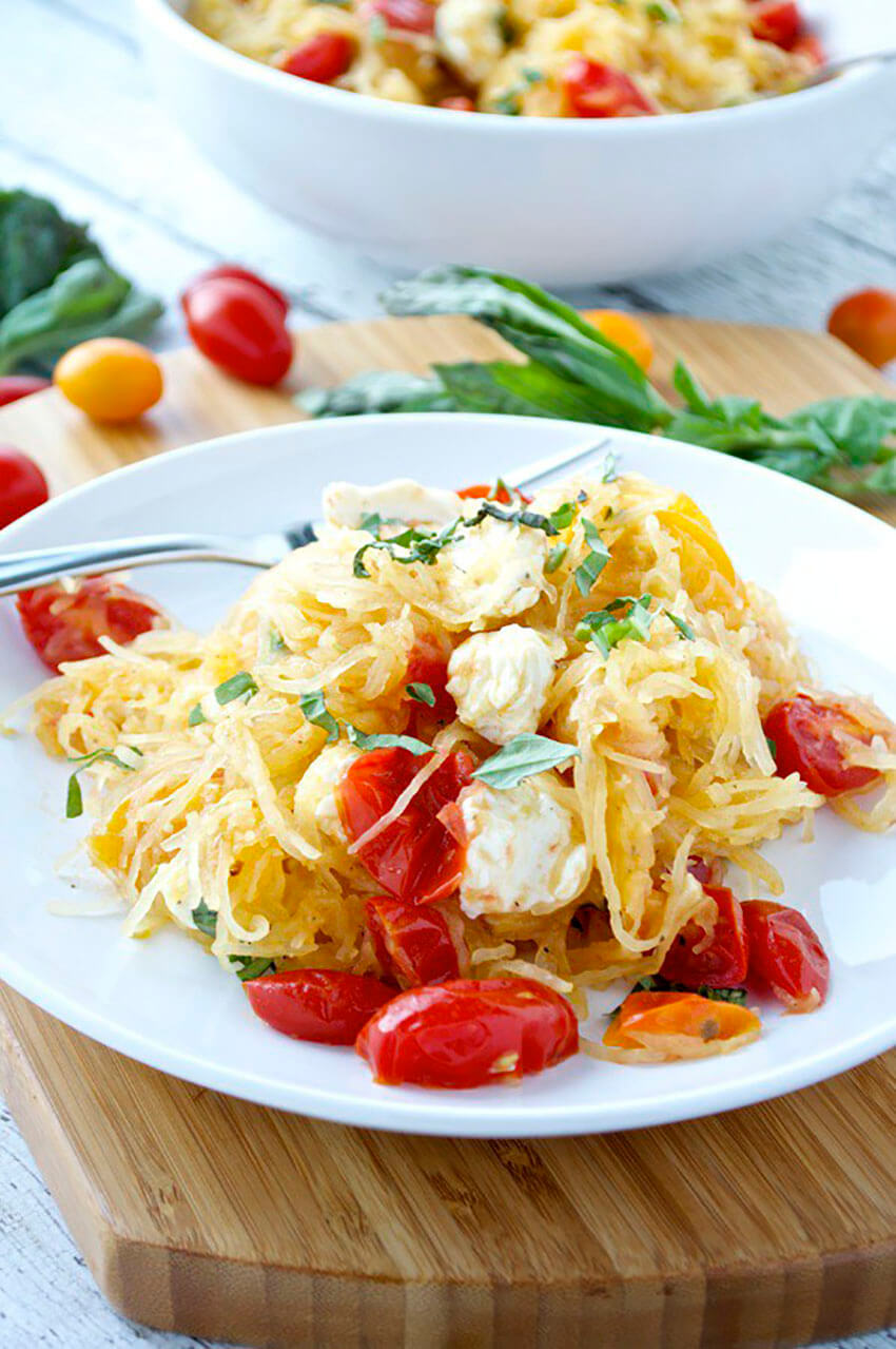 The recipe mixes the famous caprese salad with seasonal spaghetti squash for an amazing experience.