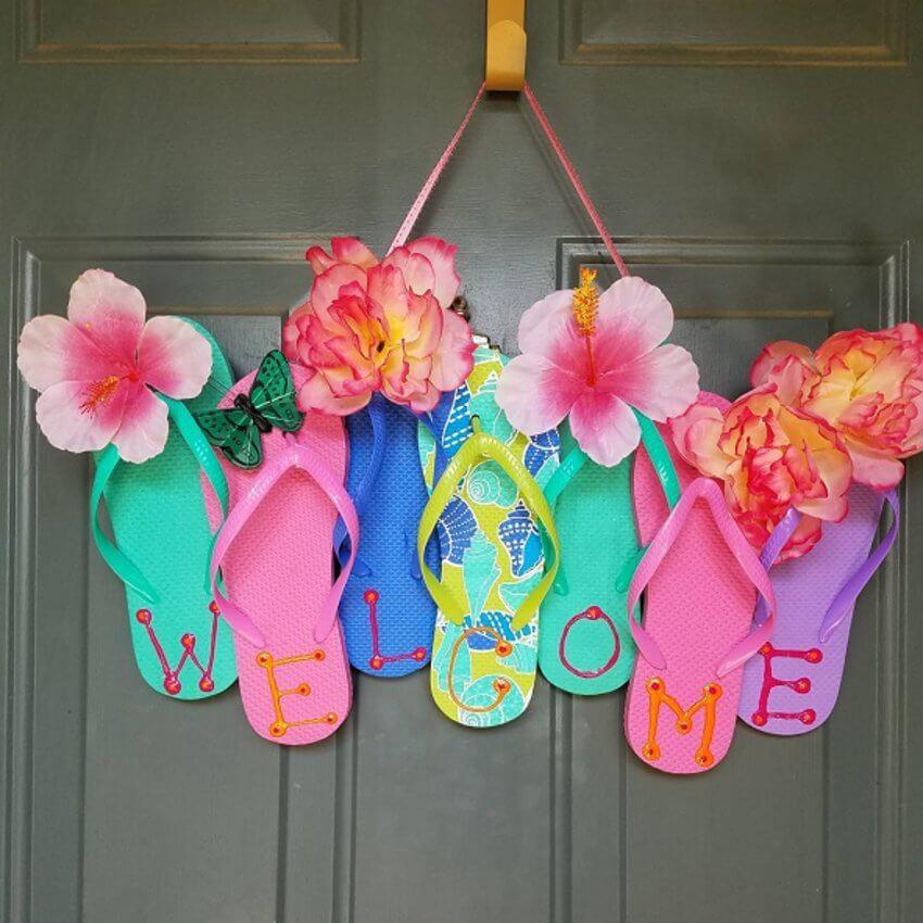 Fun flip flop wreath for your front door