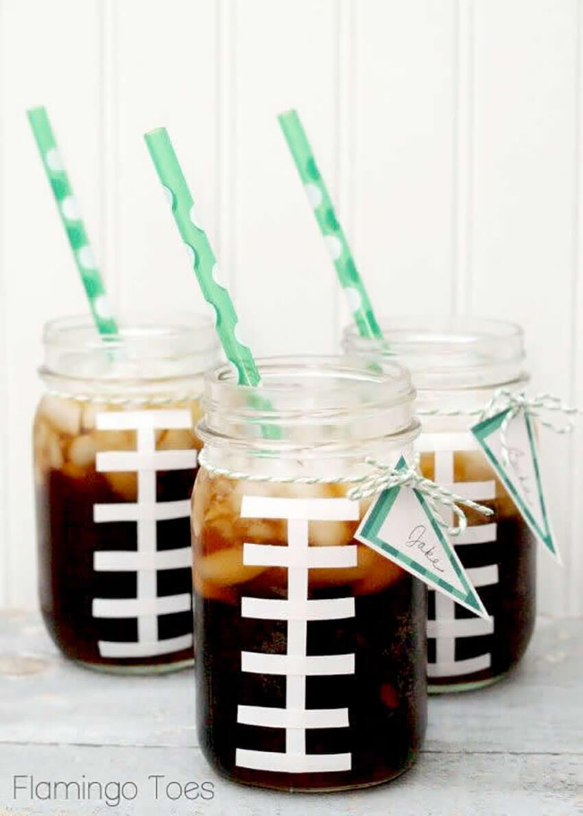 These awesome football mason jar drinks are perfect for Super Bowl!
