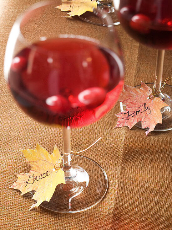 Avoid confusion (and missing glasses) by making drink tags out of leaves.