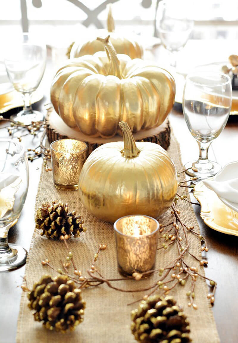 Go for the gold this Thanksgiving by spray painting pumpkins.