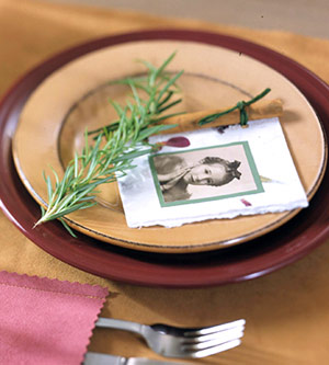 Use a childhood photo of your guests instead of their names for placecards.
