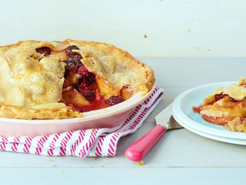 This peach blackberry pie is certainly one dessert that could certainly be served a la mode, especially when still warm from the oven. It's also great for breakfast the next day, if you can resist eating it all in one sitting