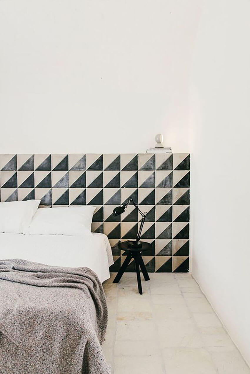Any bedroom can benefit from a gorgeous tiled headboard