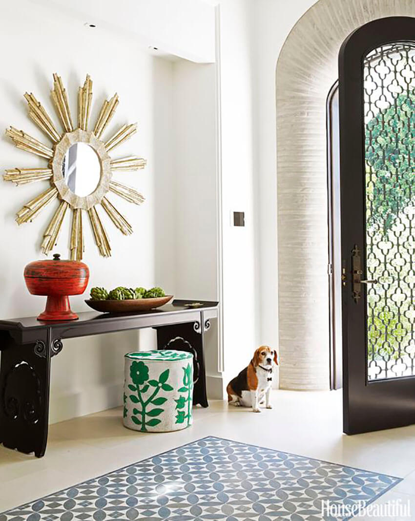 An inlaid tile rug is a great way to transform the room.