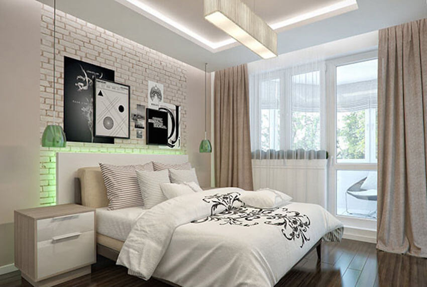Bedroom with white exposed brick wall and LED lights