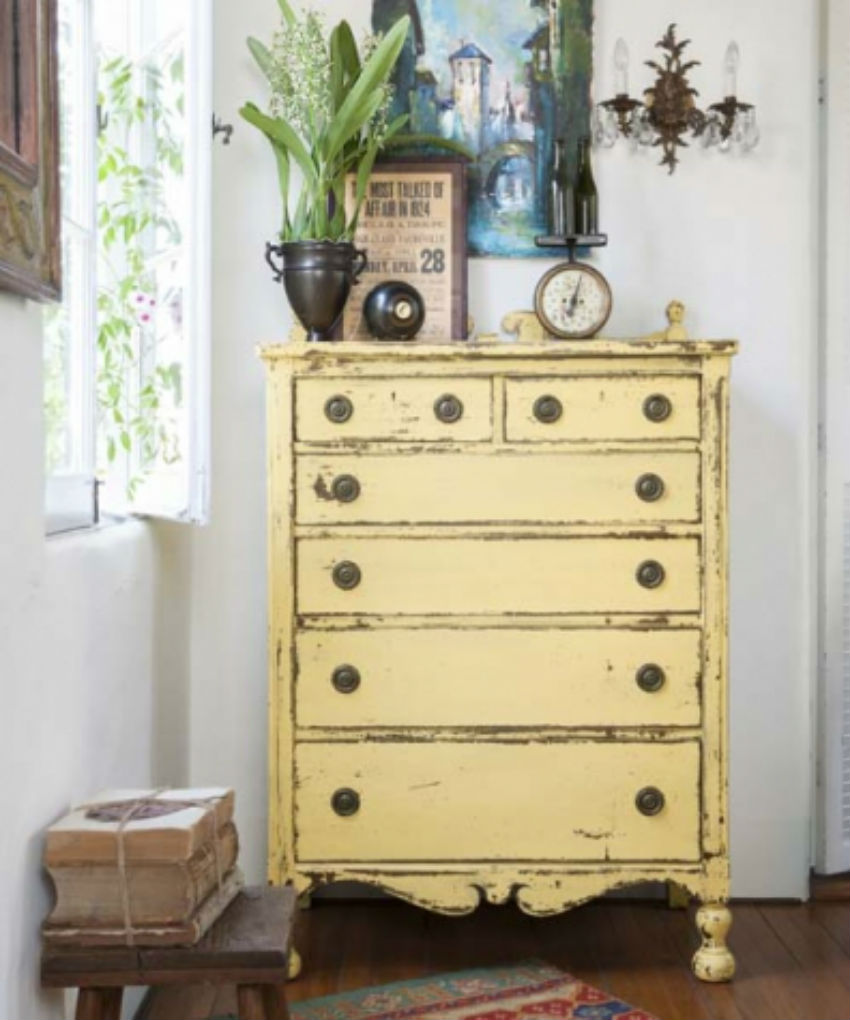 Give a paint makeover to your dresser with colorful weather finish. Image Source: This Old House
