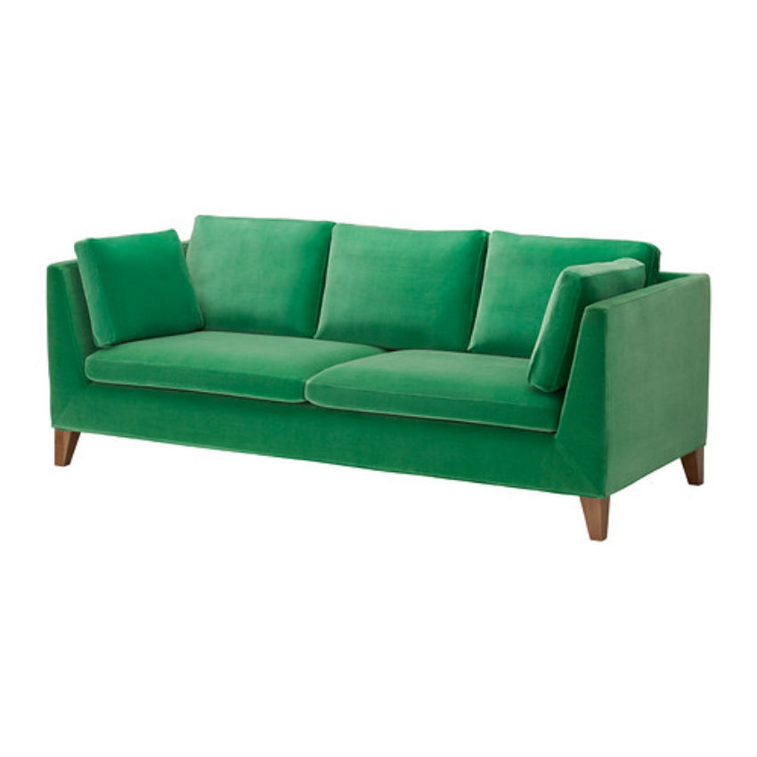 The green Stockholm sofa can be bought at IKEA. Image Source: IKEA