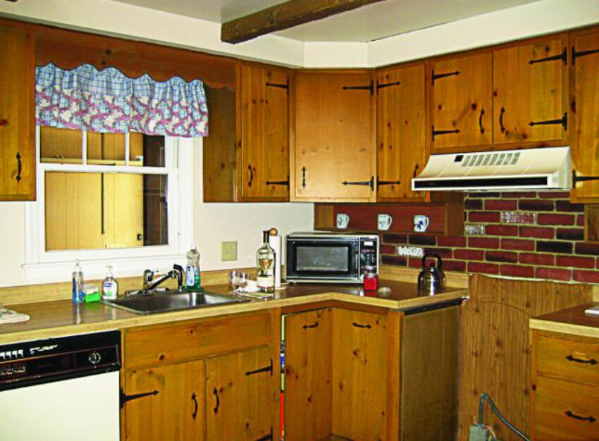 A completely outdated kitchen...