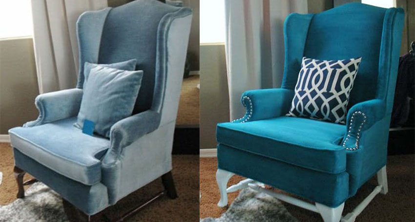 Blue chair upholstery painting project before and after