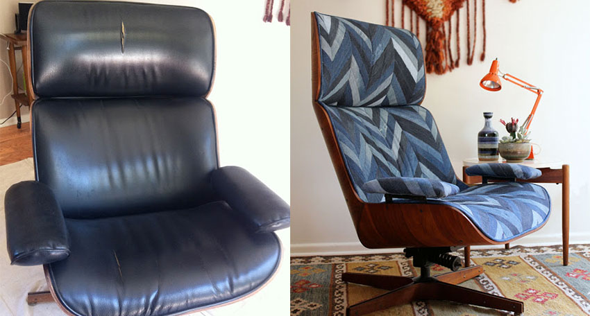 Amazing chair upholstery upgrade project before and after