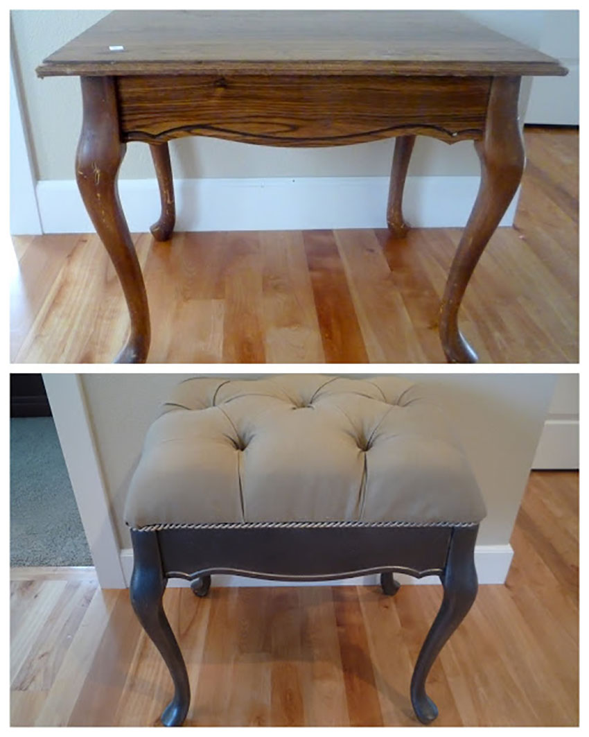 Table into footstool upholstery project