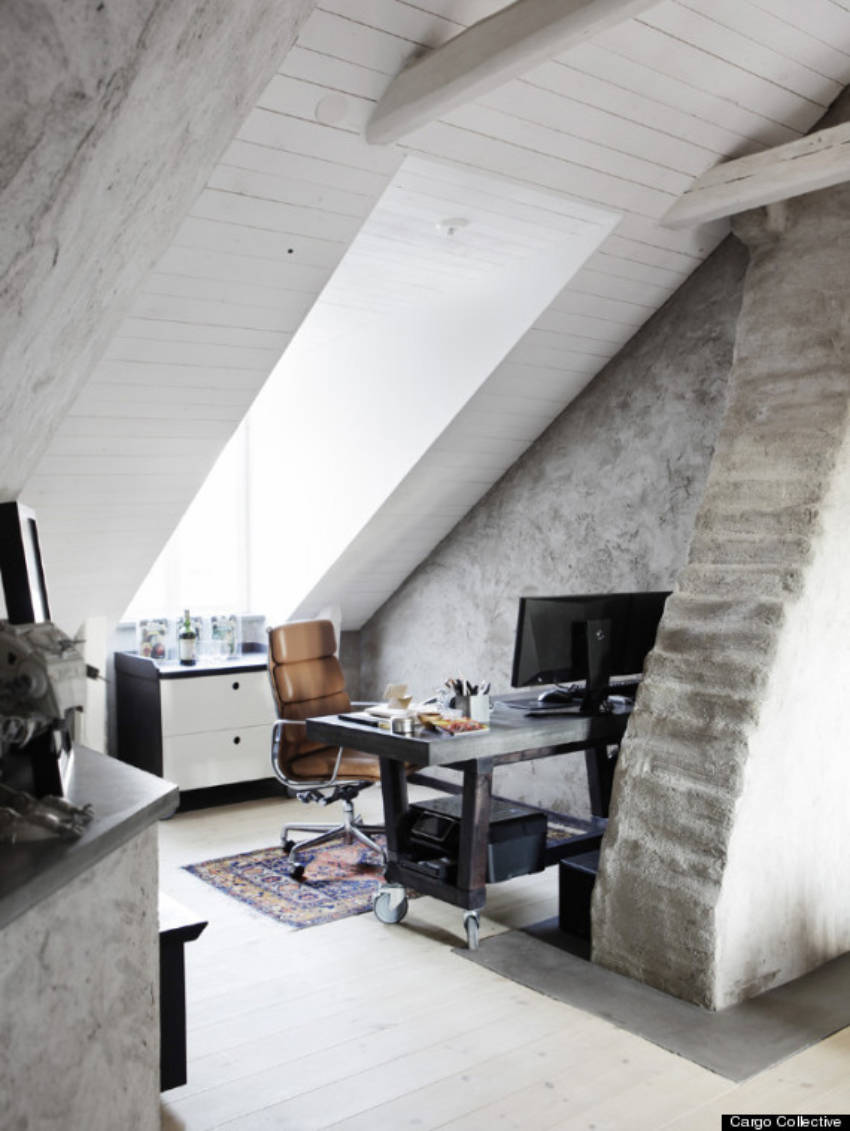 The attic can be ideal for a small office space.