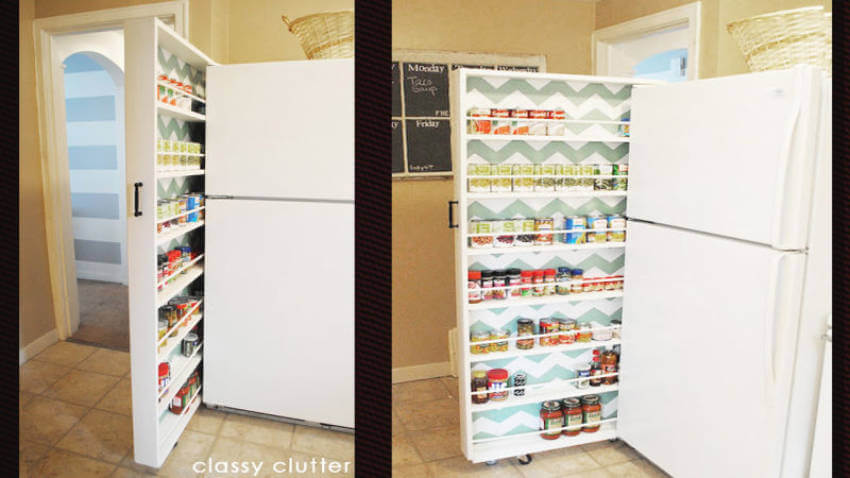 A roll out pantry saves space and avoids a cluttered look in your kitchen!