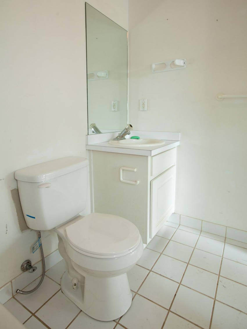 Simple white bathroom.