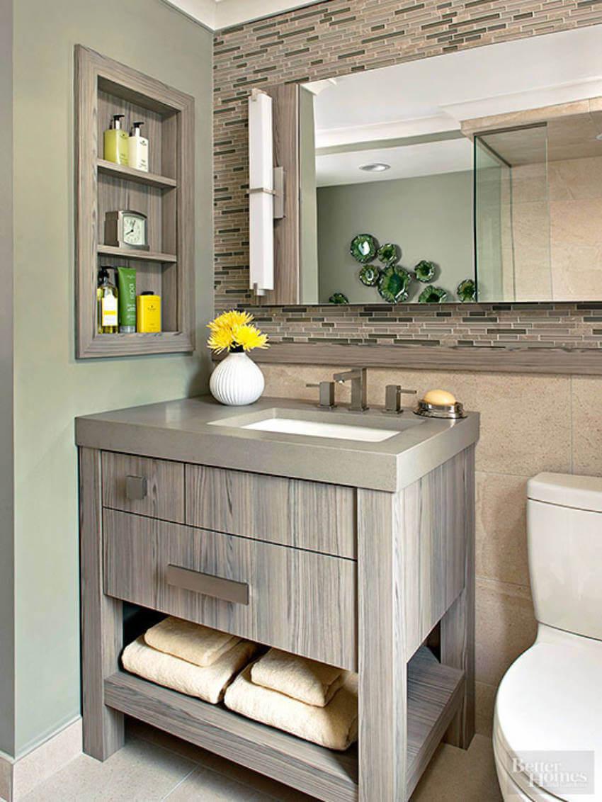 Modern looking bathroom.