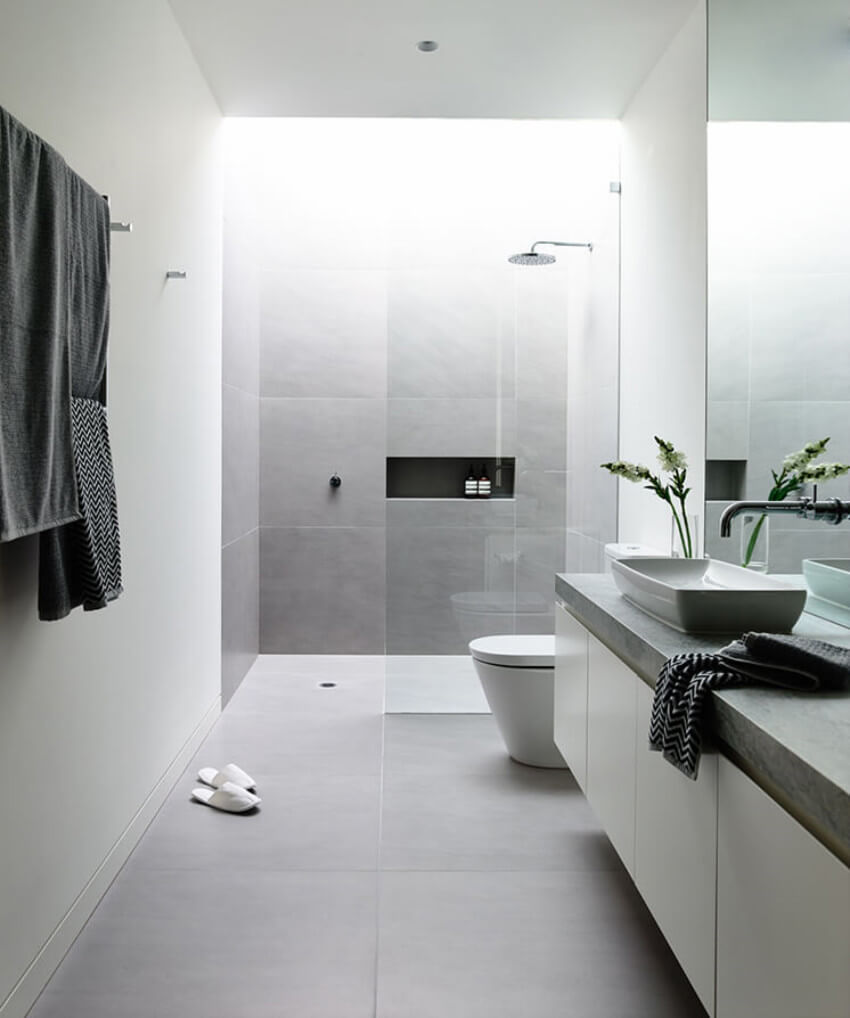 Materials that require little or no grout are ideal for the easiest to clean bathroom