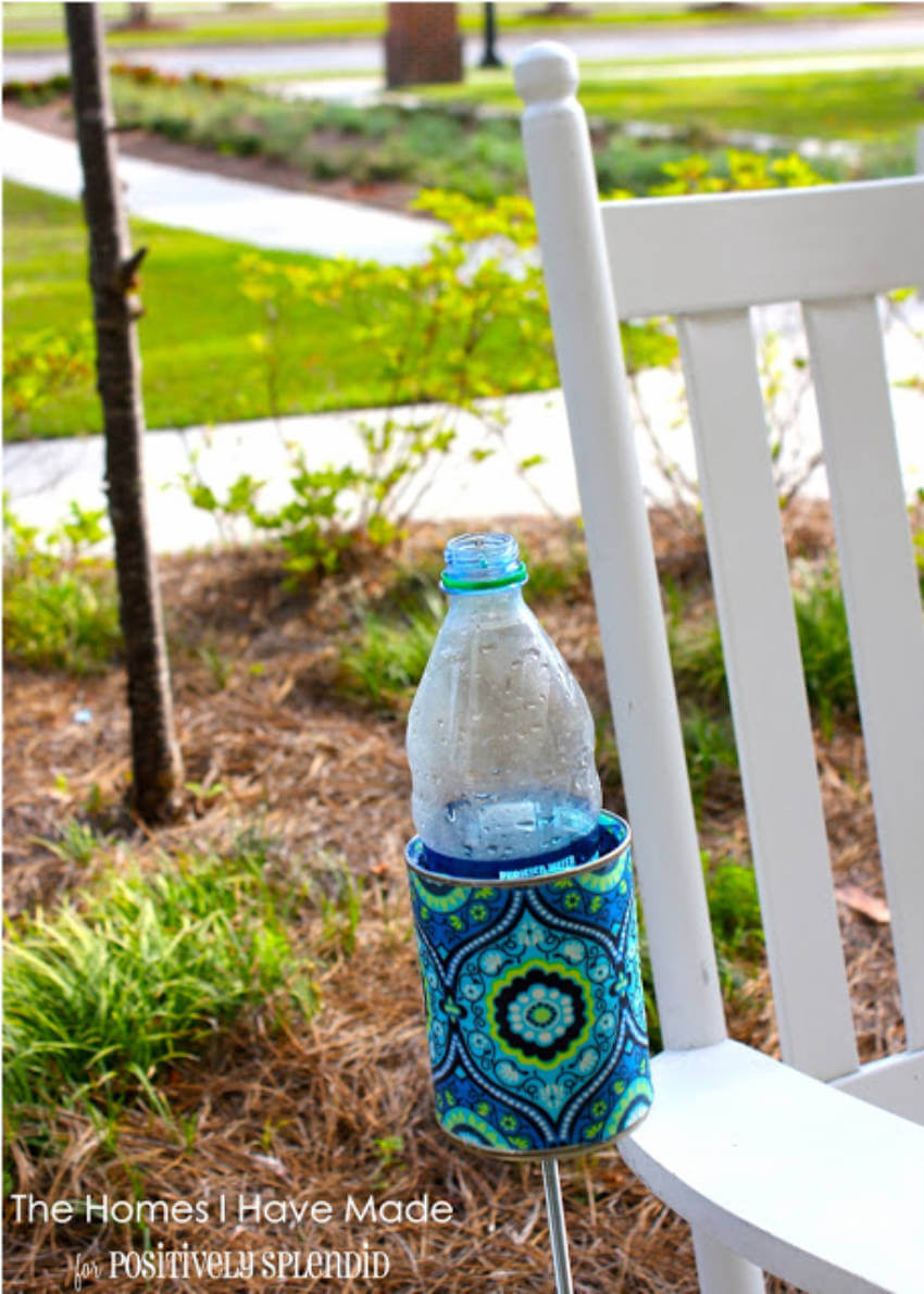 A drink holder is easy to make and will help keep the sand off your drinks!