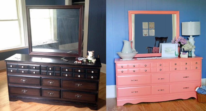 The dated dresser now looks fresh and airy!