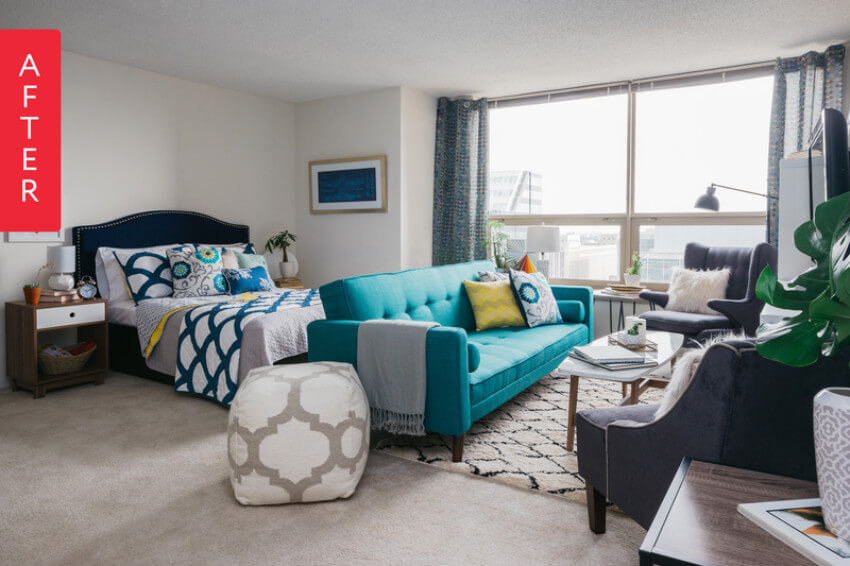 With a blue color pattern, this room is super modern.