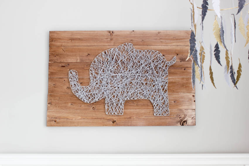Doesn't this elephant string art look perfect for a nursery?