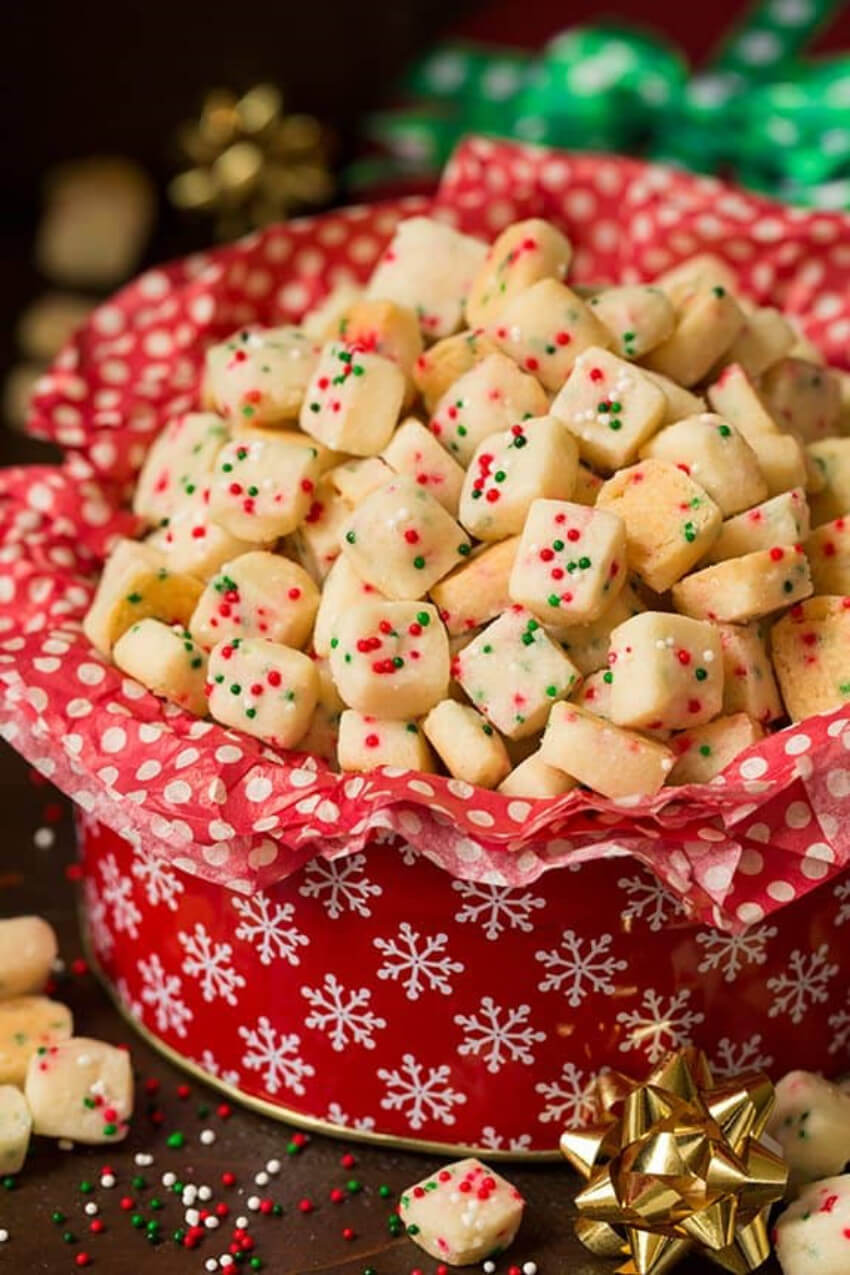These funfetti shortbread bites are perfect for the holidays!