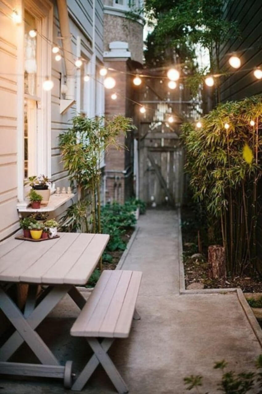 Lights will make your patio special for hanging out at night.
