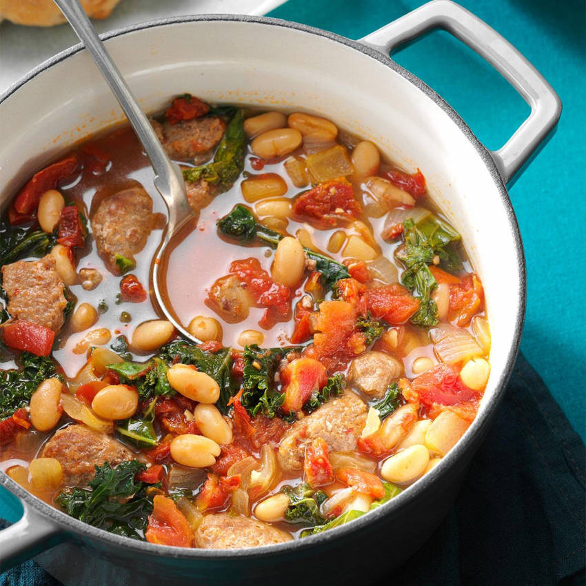 Italian sausage, beans, and kale is actually a surprisingly delicious combo!