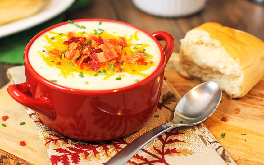 Baked potato soup with a cheese and bacon topping is a match made in heaven!