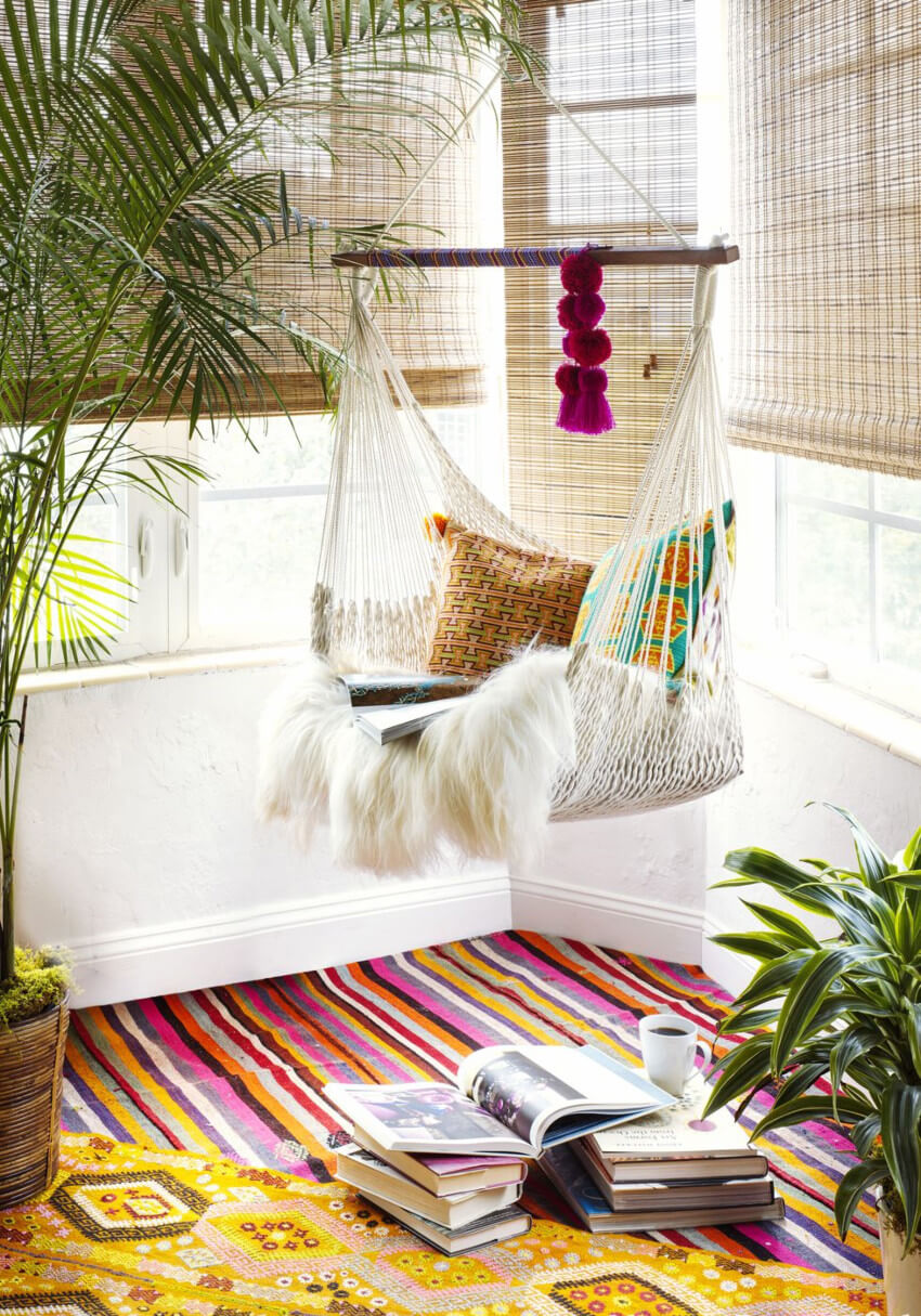 Every boho home should have a hanging chair or hammock for extra comfort.