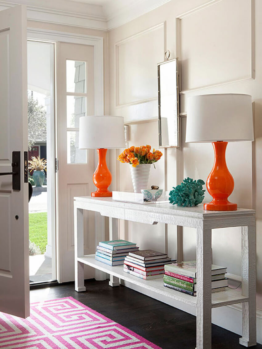 Something as simple as a colorful lamp will do the trick.