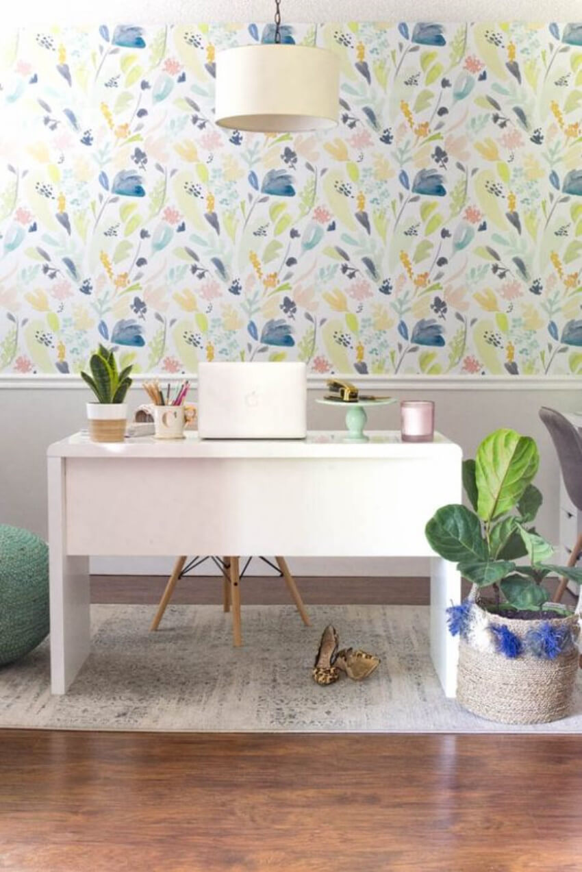 A home office with some flowers around will improve your work quality.