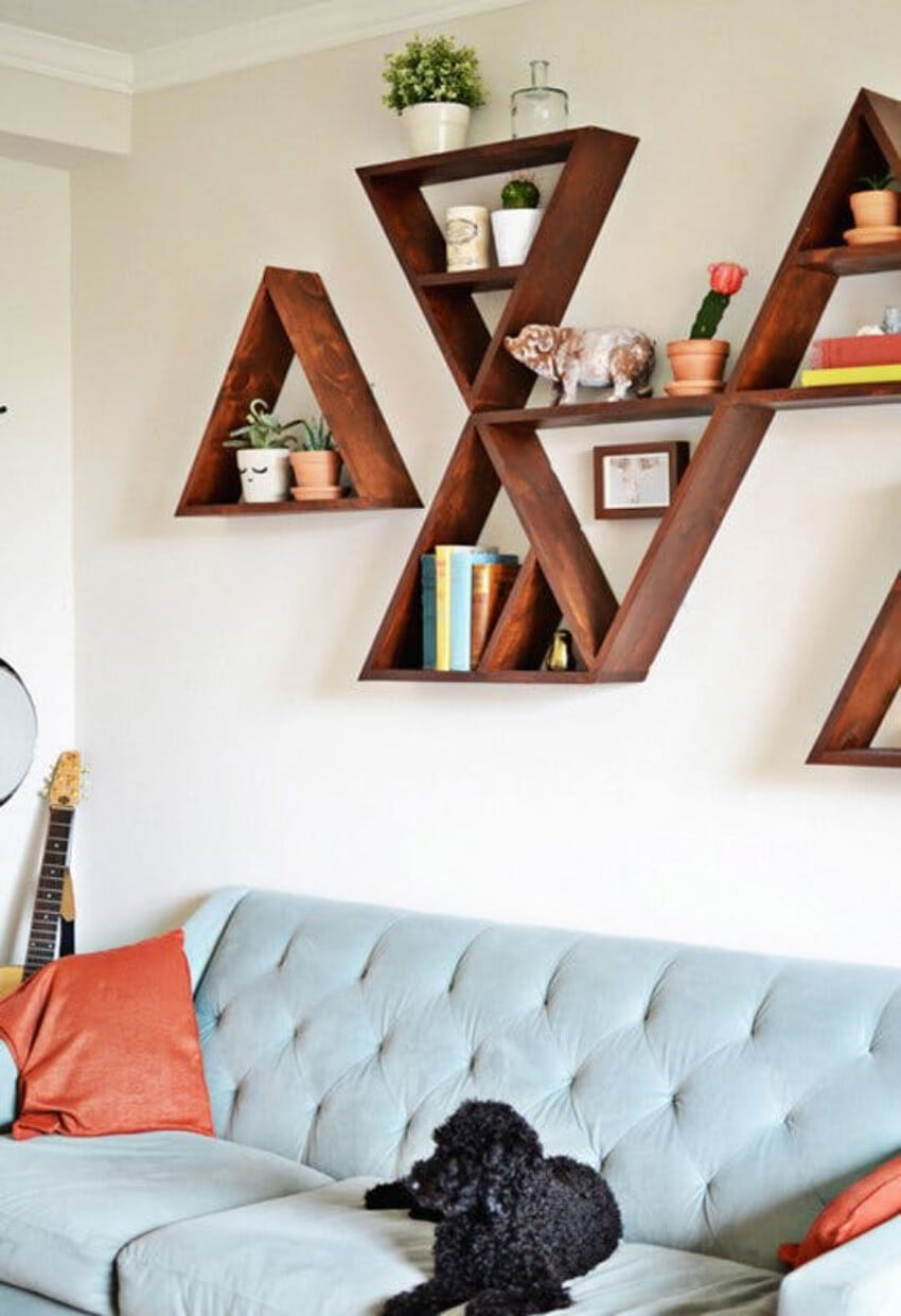 Unique-shaped floating shelves will be a great decor addition.