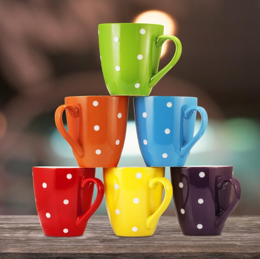 Get the day started with a cheerful mug and some hot coffee!