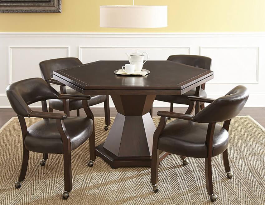 Hexagonal dining table.