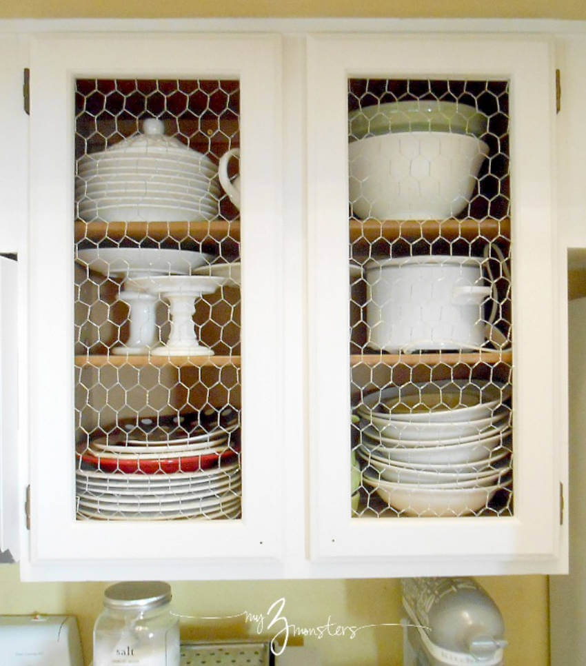 Chicken wire is commonly used on cabinets doors and it looks awesome!